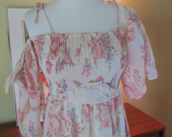 Vintage 1970s Prairie Boho Maxi. Gauze & Lace. Off Shoulder  Bell Sleeve. Ruched Tube Top.
