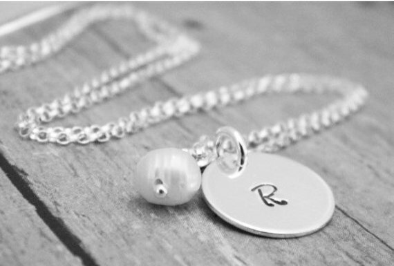 Personalized Initial necklace, Sterling Silver, Custom Made, Hand Stamped, Mommy Jewelry, Grandmother, Nana, Teen, Child, initial necklace