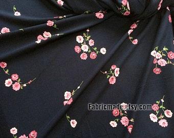 Summer Poplin Fabric, Shabby Chic Pink Rose Rosettes Flower On Black Dark Blue Poplin for Summer Clothing Fabric - 1/2 yard
