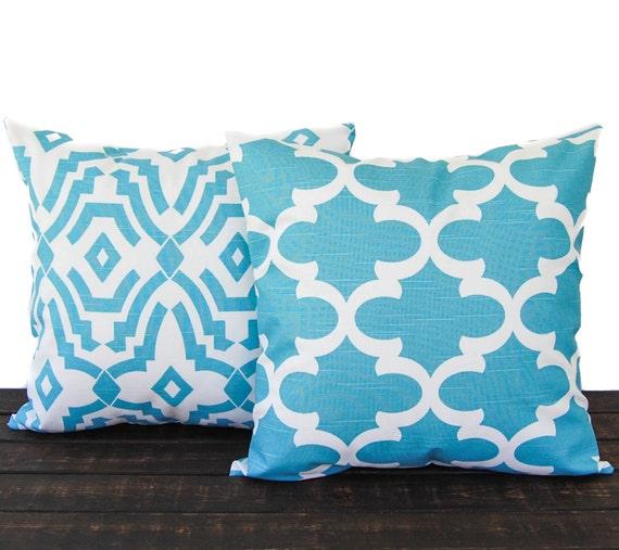 Items similar to Throw Pillows, Cushion Covers, Pillow Shams coastal light blue and white throw ...