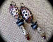 Woodland Stroll, assemblage jewelry, pod earrings,  asymmetrical earrings, Baltic amber, torch fired enamel, rustic earrings, anvilartifacts