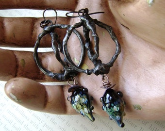 Orbiting Rings, assemblage earrings, lampwork headpins, soldered jewelry, raku glass, rustic primitive, unique earrings, Anvil Artifacts