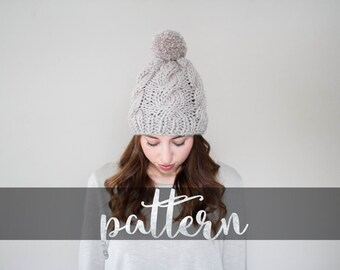 The Alpine Ski Pom, Hat PATTERN // PDF (digitally delivered and permission to sell) Ski Pom Pom, Cable Beanie, Easy Knit, Toque, Cable Knit