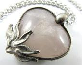 the jewel in the lotus - rose quartz heart pendant