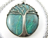 tree of life - chrysocolla crystal pendant - large turquoise amulet