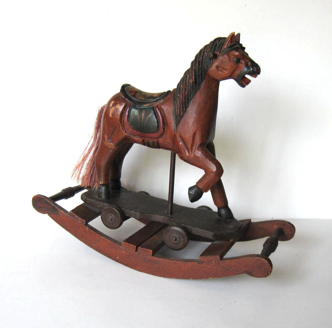 SALE Large Vintage Handcrafted Wooden Rocking Horse