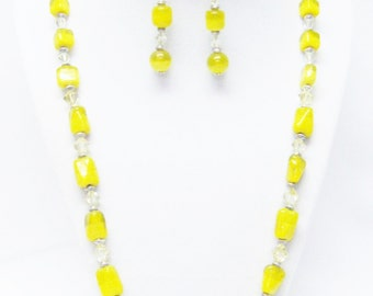 Various Yellow Foil Lined Lamp Work Glass Bead Necklace/ Earrings