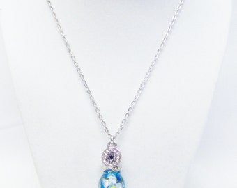 Large Aqua Glass Flower Bead on Silver Plated Bead Pin Pendant Necklace