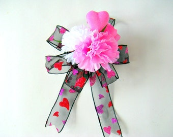 Gift wrapping bow/ Valentine's Day bow/ Hearts and flowers/ Bow for women/ Valentine party decoration/ Large gift bow (V70)