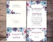 Printable Flower Watercolor Seal and Send Wedding Invite, Flower, Send N' Seal Wedding Invitation, Digital File - Karson