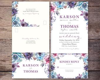 Printable Flower Watercolor Seal and Send Wedding Invite, Flower, Send N' Seal Wedding Invitation, Digital File - Jasmine