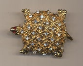 Goldtone Turtle Pin Clear Crystals Red Eyes