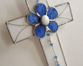 Stained Glass Cross Wall Hanging with Blue Flower Daisy