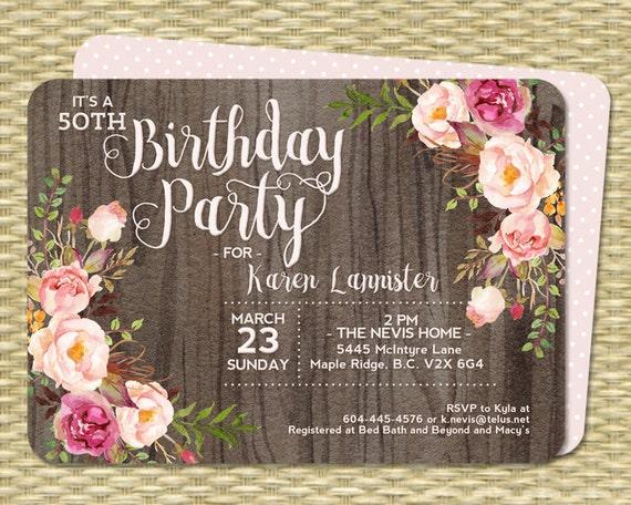 50th birthday invitation rustic watercolor dark wood roses peonies il570xn filmwisefo