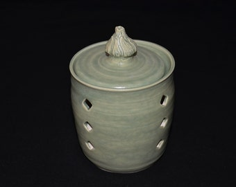 Patina Green Garlic Jar