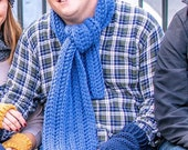 Unisex Blue Scarf. Handmade Blue Scarf. Chunky Knit Blue Scarf. Mens Blue Knit Scarf. Winter Blue Crochet Scarf. Chunky Blue Men Scarf