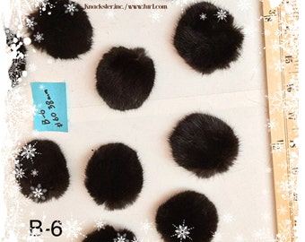B-6 Dark Brown Mink Fur Button for Fur coat sewing decoration #60 38mm