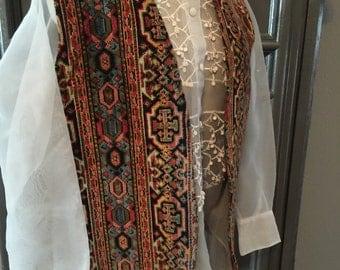 60s Tapesty Carpet Bagger Boho Hippie Vest