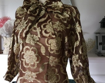 60s Brown Gold Metallic Bow Neck Party Blouse