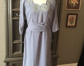 "40s Lavender Blue Rayon Dinner Dress 30""waist"