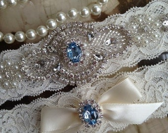 Wedding Garter-Bridal Garter-Garter-Custom Garter-Something Blue-Rhinestone-Pearl-Keepsake-Lace Garter-Ivory-Garter Belt-Elastic Garter-Toss