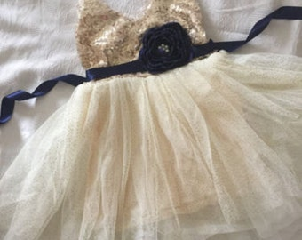 Gold Ivory cream Flower Girl Dress -Navy blue satin ribbon/ Navy flowers belt