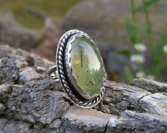 Prehnite and Sterling Silver Ring. High Dome Green Prehnite. Artisan Ring With Scalloped Bezel and Twist Wire Detailing. US 7-7.25
