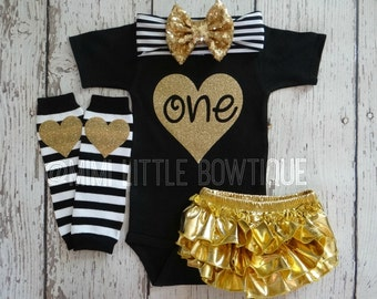 My First Birthday Black  with gold sparkle- 1st Birthday Outfit- Baby Girl Clothing-Party outfit