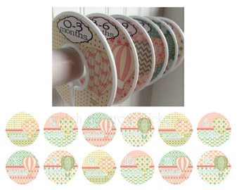 6 Baby Closet Dividers and 12 Monthly Stickers Hot Air Balloons Month Stickers Clothes Dividers Closet Organizers Baby Shower Gift Set