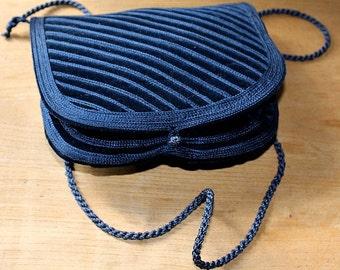vintage moroccan velvet  embroidery bag  /  blue