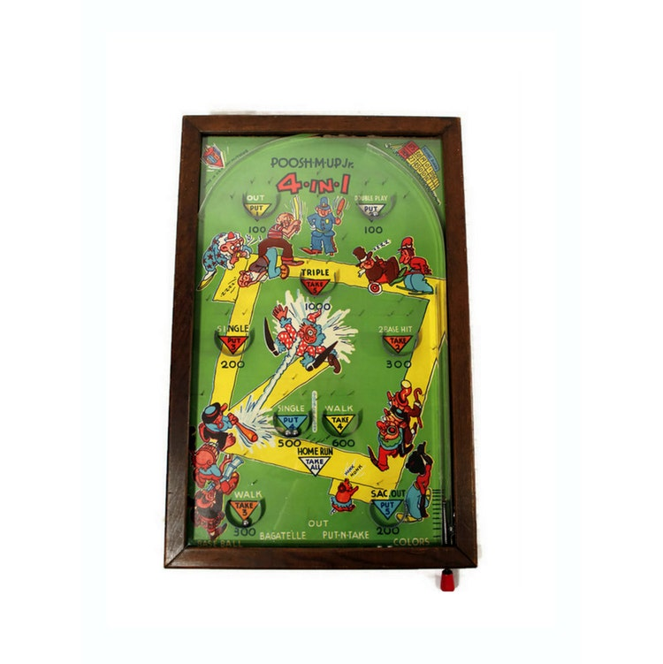 1930s Pinball Game Vintage Toy Poosh M Up Jr By Citybeepster