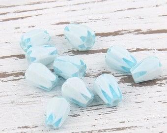 Baby Blue Faceted Tear Drop Czech Glass Beads,10 pcs // BD-029