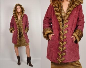Raspberry Suede Long Coat Faux Fur Collar Vintage