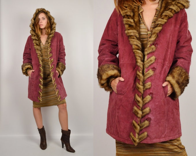 Raspberry Suede Long Coat Faux Fur Collar Vintage