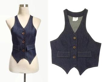 1970's Denim waistcoat - Vintage 70's Waistcoat - Vintage Vest - Deadstock