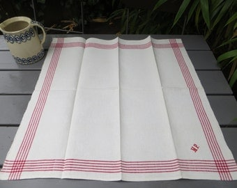 Free Shipping Danish  Rustic Handwoven  Linen  Large Towel Red Stripes Kitchen  Dish Cloth Napkin  Wrap  Runner Antique Denmark Monogram MP