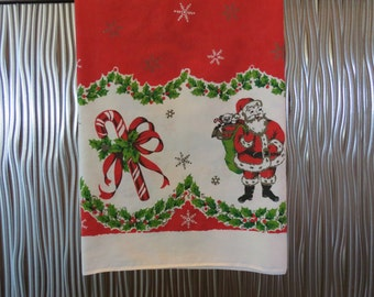 Vintage Christmas Tablecloth - Mid Century Christmas Tablecloth - Santa Tablecloth - Holiday Tablecloth - Free Shipping - 6PTT16