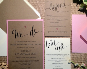 SAMPLE Caroline Wedding Invitation (Kraft/Blush)