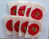 Bridge Tallies with White Felt Covers and Red Flowers (set of 8)