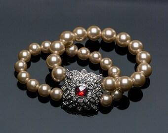 Vintage KJL Ruby, Pearl & Rhinestone Stretch Double Strand Bracelet