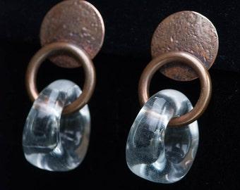 Vintage Marjorie BAER Bronze Drop Dangle Earrings-Lucite Statement