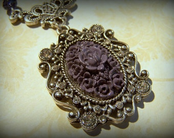 Ornate Victorian Style Purple and White Opal Necklace.