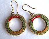 Italy Mosaic Hoop Earrings, Swing Circle Drop Earwires, Red Green Holiday Colors, Glass Flower Chips Inlay, Brass Frame