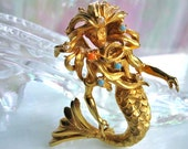 Vintage Mermaid Brooch, Rare DeNicola Goldtone Sea Siren, Faux Pearls Coral Turquoise, Fantasy Mariners Brooch, Water Spirit, Undine