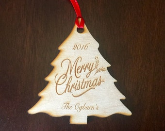 Christmas Tree Holiday Ornament,  Custom, 1 Laser Engraved Ornament