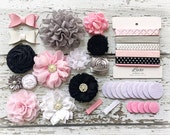 DIY Headband Making Kit - Classic Collection - Pink, Grey, Black, and White - MAKES 10+ HEADBANDS! Chiffon Flowers - Flower Headbands