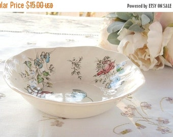 On Sale Johnson Brothers Day In June Multicolor Square Soup Bowl, Wedding China, English China, Home and Living Romantic Farmhouse