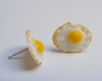 Food Jewelry Fried Egg Earrings, Miniature Food, Mini Food Earrings, Fried Egg studs, Egg Jewelry Egg Charm Dolls house Food Kawaii Earrings