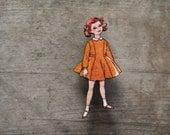 Little Girls Brooch, 1950s Fashion Brooch, Kids Vintage Fashion Brooch, Orange, Retro Style Wooden Brooch