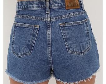 Vintage 90s Blue Denim High Waisted Shorts. UK 10. W28
